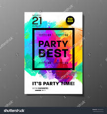 party flyer template vector design abstract paint colorful