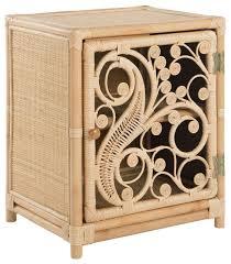 kouboo rattan peacock nightstand with one door opening left