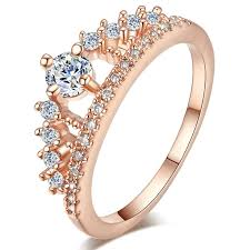 cute wedding rings images Tuker female crown ring simulated czcz 925 sterling silver jpg