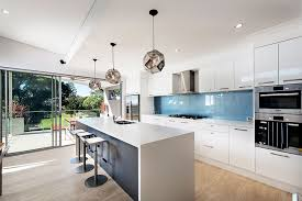 Modern Pendant Lights For Kitchen Island Contemporary Kitchen Cool Blue Backsplash And White Kitchen