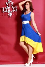 royal blue yellow colorblock scoopneck high low hem dress