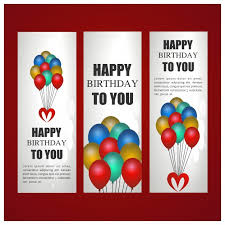 birthday banners template with balloons vector free download