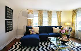 chicago blue and brown striped curtains living room eclectic with