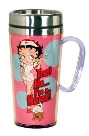 amazon com betty boop nurse insulated travel mug pink kitchen