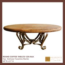 030 round coffee table iron base chocolate finish copper natural