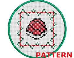 shy guy christmas ornament counted cross stitch pattern