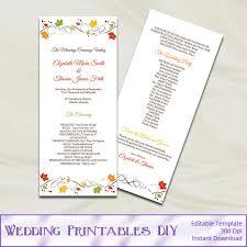 tea length wedding program template fall wedding program template autumn leaves tea length