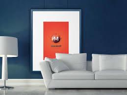 picture frame living room couch u0026 lamp scene psd mockup psd mockups