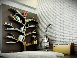 tree bookshelf with white far rug and unique bookshelf and guitar