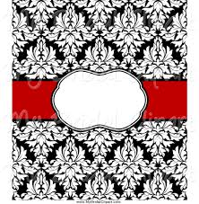 damask ribbon bridal clipart of a black and white damask invitation design with