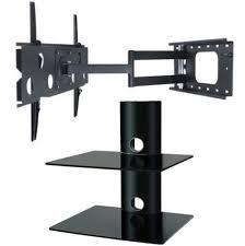 tv wall mount swing out 2xhome tv wall mount bracket two 2 double shelf package