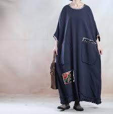 buykud women spring and fall plus size linen maxi dress buykud