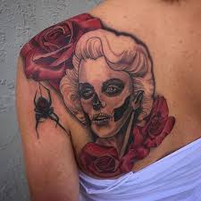 marilyn monroe skull lady tattoo