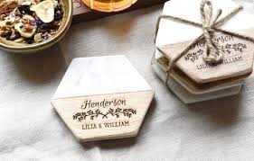 wooden drink coaster personalized modern hexagon shaped wood and marble drink coasters
