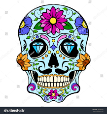 blue sugar skull diamonds flowers ornaments stock vector 736096204