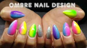 ombre acrylics nail design pride summer nail design youtube