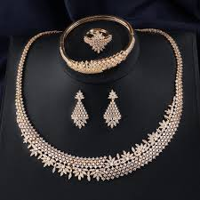 luxury gold necklace images 2018 red trees brand luxury gold color dubai jewelry set for women jpg