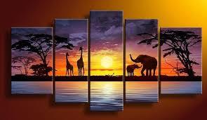 painting for home decoration hand painted sun purple grassland elephant deer landscape home decor