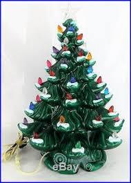 large 20 vtg green ceramic tree multi colored lights