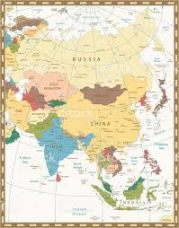 Maps Of Asia Old Retro Color Map Of Asia Stock Vector Art 539347460 Istock