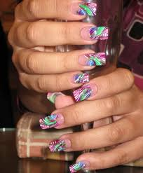 hand painted nail art done in summer colors yelp