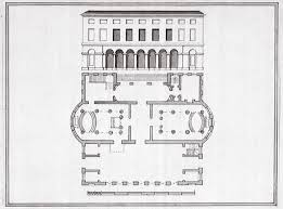 west elevation and ground floor plan of shire hall hertford with