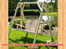 coral coast rustic natural log curved back porch swing and a frame