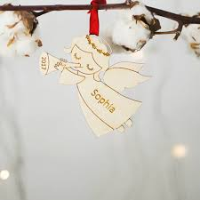 angel personalised christmas tree decoration by wooden toy gallery