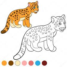 coloring page with colors little cute baby jaguar u2014 stock vector