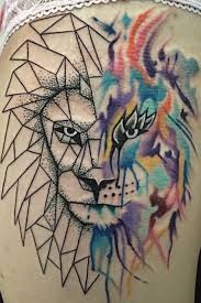 abstract geometric lion tattoo by man yelp