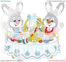 clipart of cartoon easter bunny rabbits cheering at a table with