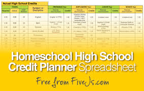 Spreadsheet Lesson Plans For High by Free Homeschool High Credit Planner Five J S Homeschool
