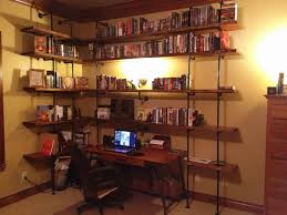 large pipe shelving project steps w distressed wood project