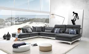 Fabric Modern Sofa David Horizon Modern Grey Fabric Leather Sectional Sofa