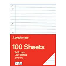 leaf shaped writing paper loose leaf exam paper officeworks studymate premium a4 loose leaf refill 100 pack