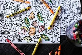printable thanksgiving coloring placemat all for the boys