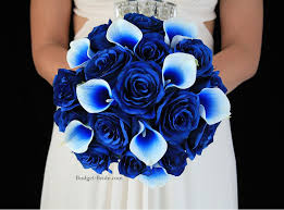 wedding flowers blue and white royal blue picasso calla and royal blue brides bouquet