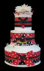 tier modern ladybug red and black baby shower diaper cake