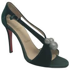 green plain velvet christian louboutin sandals vestiaire collective