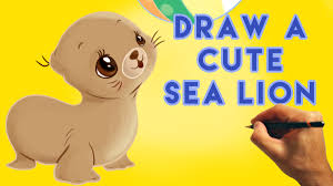 how to draw a cartoon sea lion cute and easy narrated tutorial