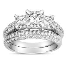 cheap white gold wedding rings 2 carat three trilogy princess diamond wedding ring set in
