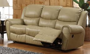 bonded leather transitional reclining sofa w options