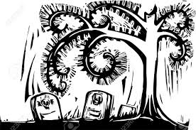gothic halloween image of a spiral tree and graves royalty free