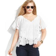 plus size white blouses lyst michael kors michael plus size shortsleeve eyelet blouse in