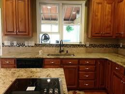 Medium Brown Kitchen Cabinets by Sienna Beige Granite On Medium Colored Wood Cabinets 4 9 13