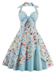 halter floral pin up dress in cloudy l sammydress