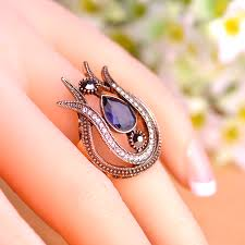 new rings images Blucome 2018 new vintage women rings antique gold color water drop jpg