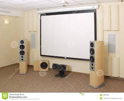 home theater columns projection screen in home theater stock photo image 25809050