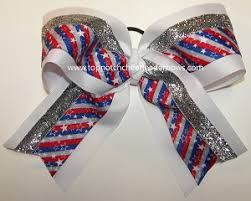 white and blue bows patriotic cheer bow white blue bow and stripes