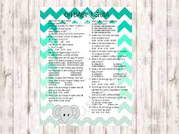 baby trivia game baby shower printable digital download pdf